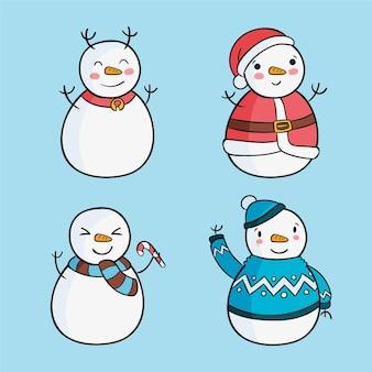 Conjunto de caracteres de boneco de neve desenhado à mão