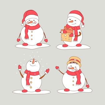 Conjunto de caracteres de boneco de neve mão desenhada