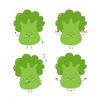 Conjunto de caracteres de brócolis feliz fofo