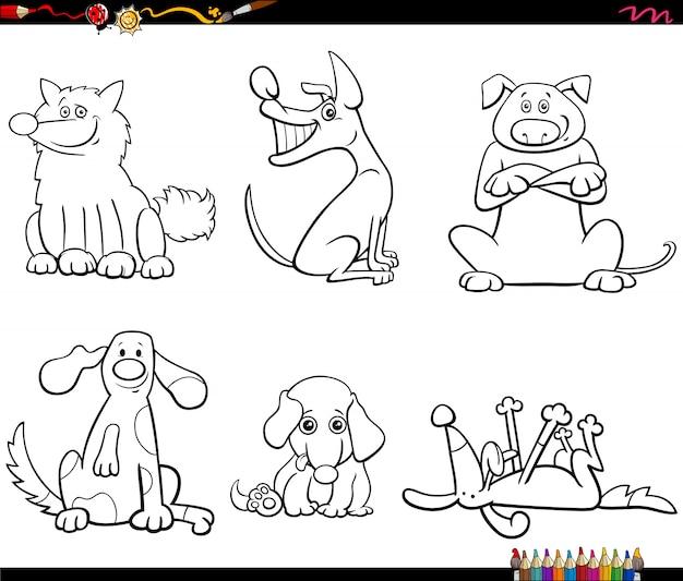 Conjunto de caracteres de cães dos desenhos animados página de livro de cores