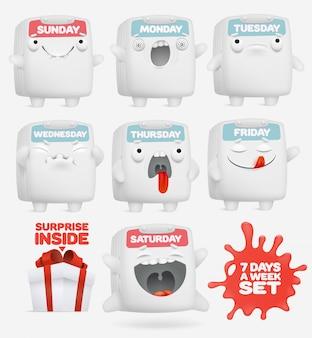 Conjunto de caracteres de calendário de emoji dos desenhos animados.