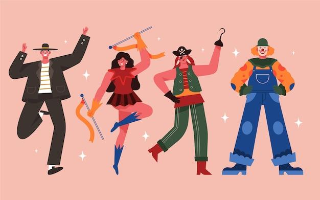 Conjunto de caracteres de carnaval desenhados à mão