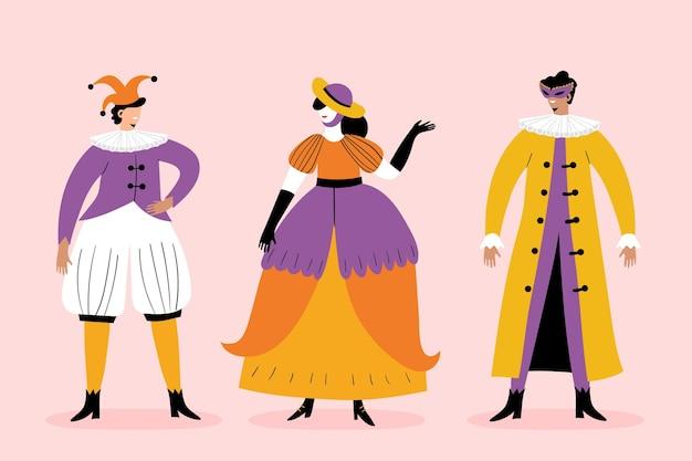 Conjunto de caracteres de carnaval italiano desenhado à mão