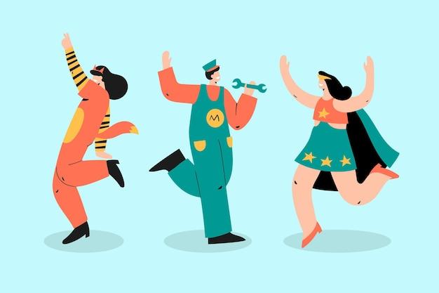 Conjunto de caracteres de carnaval veneziano desenhado à mão Vetor Premium