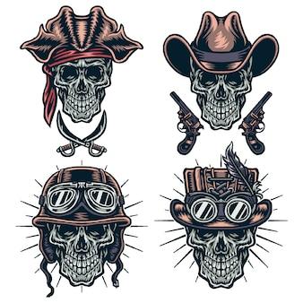 Conjunto de caracteres de caveiras, cowboys, steampunk, capacetes e piratas