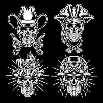 Conjunto de caracteres de caveiras, vaqueiros, steampunk, capacetes e piratas, versão de linha preta