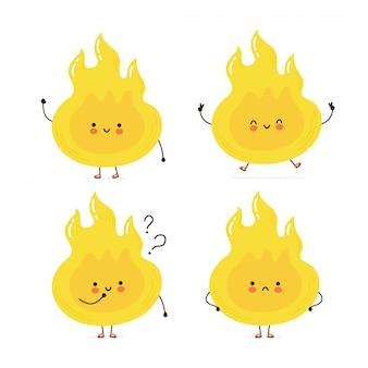 Conjunto de caracteres de chama de fogo feliz bonito