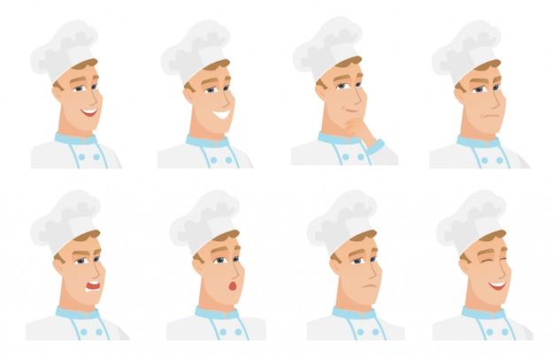 Conjunto de caracteres de chef-fogão.