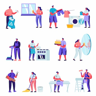 Conjunto de caracteres de chefes de casa plana, limpeza de personagens em casa