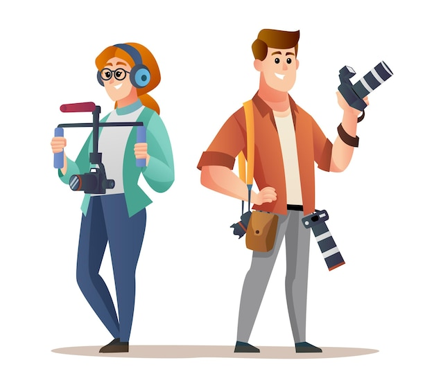 Conjunto de caracteres de cinegrafista e fotógrafo profissional