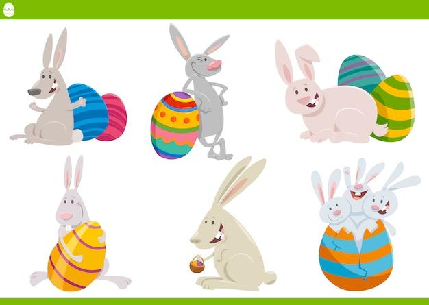 Conjunto de caracteres de coelhinhos da páscoa ilustração dos desenhos animados
