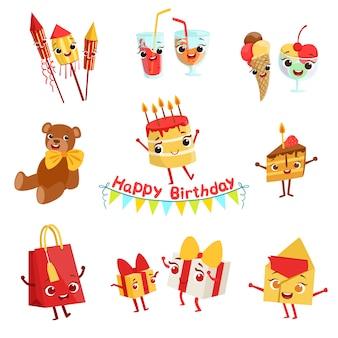 Conjunto de caracteres de coisas de comemoração de festa de aniversário bonito