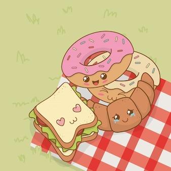 Conjunto de caracteres de comida de acampamento kawaii