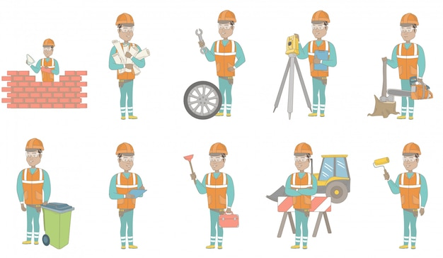Conjunto de caracteres de construtor hispânico jovem