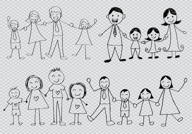 Conjunto de caracteres de contorno familiar feliz