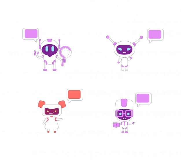 Conjunto de caracteres de cor plana de robôs humanóides. menino ai com livro e lupa. assistente de garota bot acenando. robô com discurso bolhas ilustrações isoladas dos desenhos animados sobre fundo branco