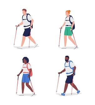 Conjunto de caracteres de cor semi plana de caminhantes. figuras de mochileiros.