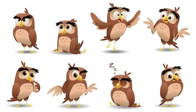 Conjunto de caracteres de corujas fofas de desenho animado