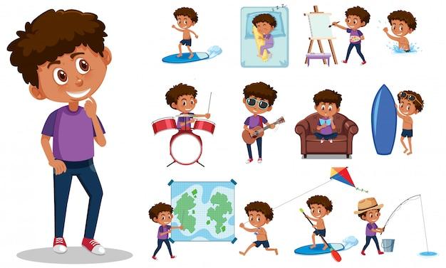 Conjunto de caracteres de criança com diferentes expressões no fundo branco