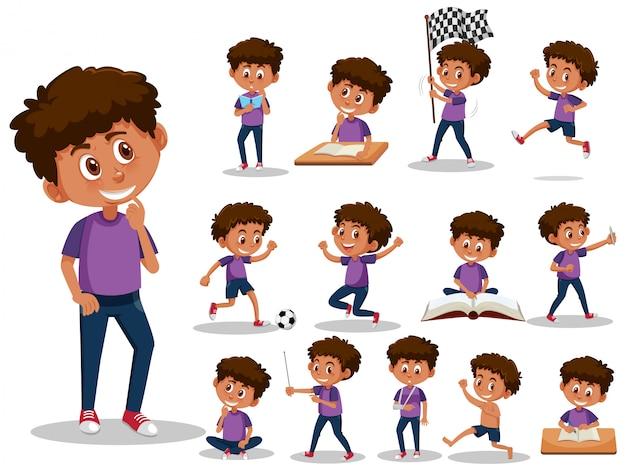 Conjunto de caracteres de criança com diferentes expressões