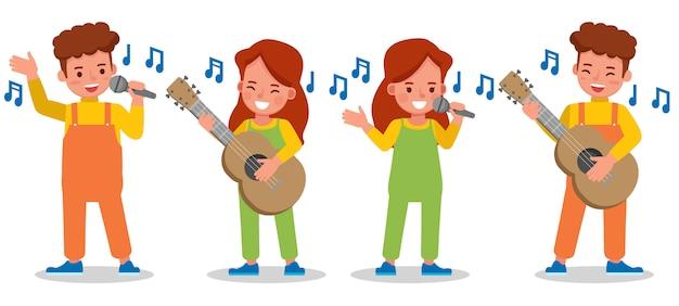 Conjunto de caracteres de crianças cantando
