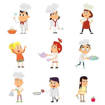 Conjunto de caracteres de crianças cozinheiros.