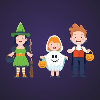 Conjunto de caracteres de crianças de halloween
