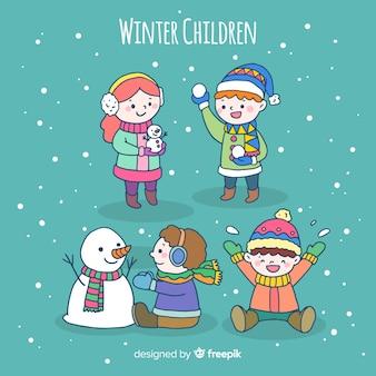 Conjunto de caracteres de crianças de inverno