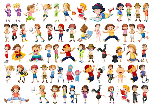 Conjunto de caracteres de crianças
