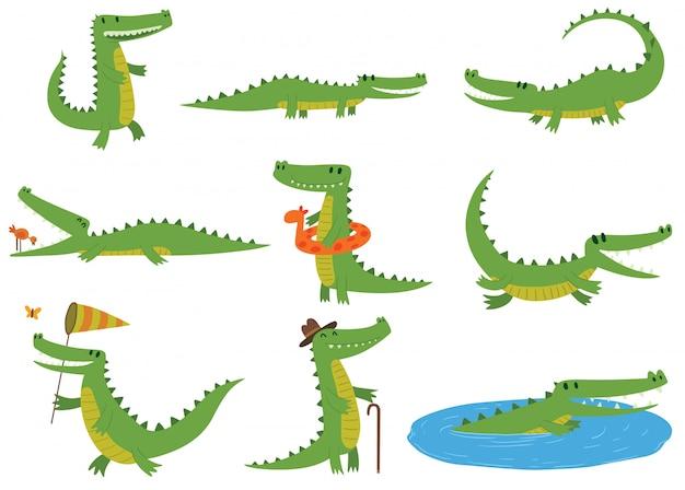 Conjunto de caracteres de crocodilo.