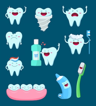 Conjunto de caracteres de dentes engraçados e escova de dentes