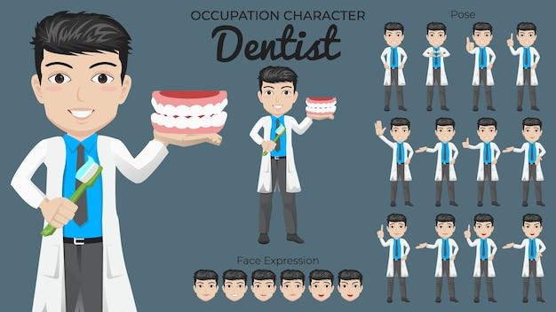 Conjunto de caracteres de dentista masculino com várias expressões faciais e de pose