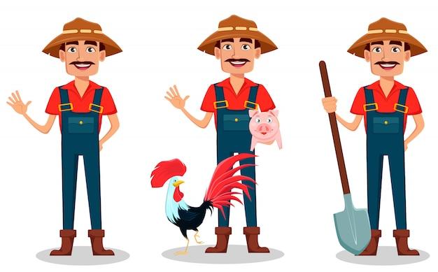 Conjunto de caracteres de desenho animado agricultor