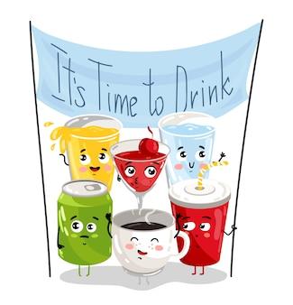 Conjunto de caracteres de desenho animado de bebida engraçada