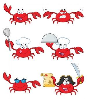Conjunto de caracteres de desenho animado de caranguejo