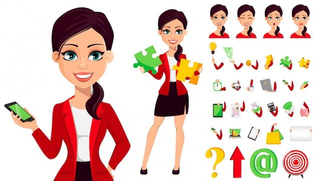 Conjunto de caracteres de desenho animado de empresária