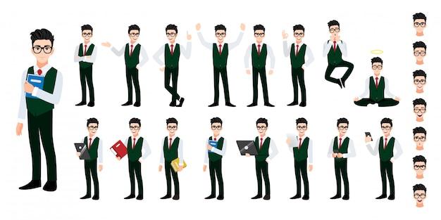 Conjunto de caracteres de desenho animado de estudante universitário.