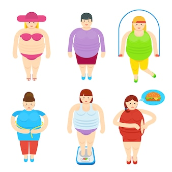 Conjunto de caracteres de desenho animado de mulher gorda