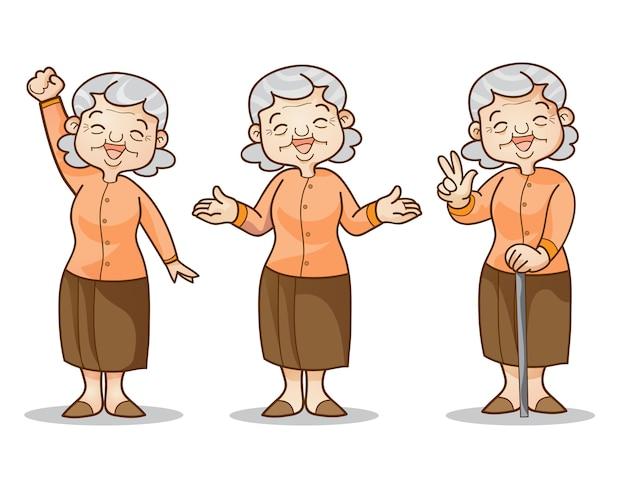 Conjunto de caracteres de desenho animado de mulher velha