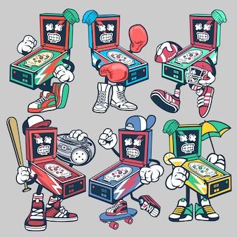 Conjunto de caracteres de desenho animado de pinball