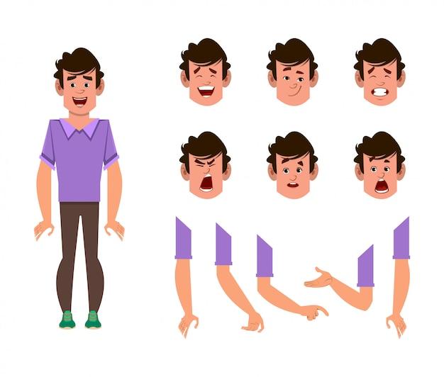 Conjunto de caracteres de desenho animado do homem para sua animação, design ou movimento com diferentes emoções faciais e mãos