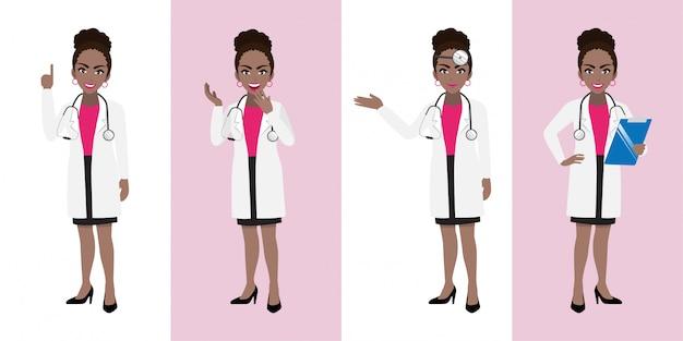 Conjunto de caracteres de desenho animado médico feminino
