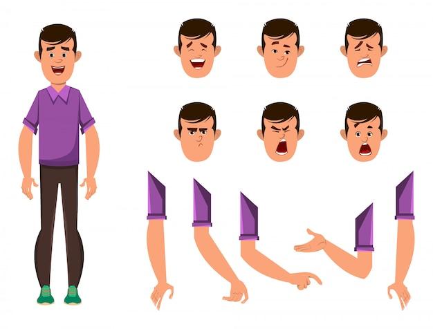 Conjunto de caracteres de desenho animado menino casual para sua animação, design ou movimento com diferentes emoções faciais e mãos