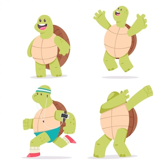 Conjunto de caracteres de desenho de tartaruga bonito. ilustração do animal engraçado da mascote isolado em um fundo branco.