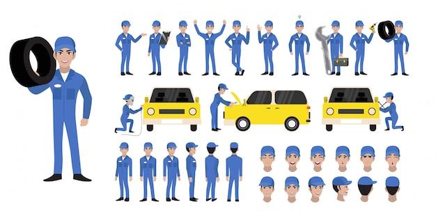 Conjunto de caracteres de desenho mecânico auto e personagem de animação