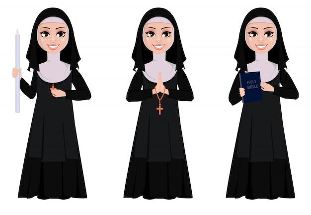 Conjunto de caracteres de desenhos animados de freira