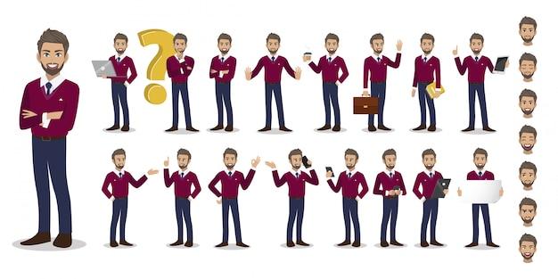 Conjunto de caracteres de desenhos animados do empresário.