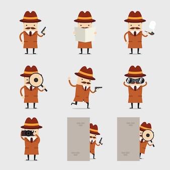 Conjunto de caracteres de detetive dos desenhos animados.