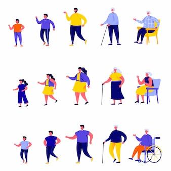 Conjunto de caracteres de diferentes gerações de pessoas planas