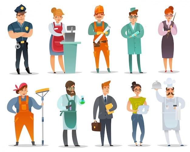 Conjunto de caracteres de diferentes profissões dos desenhos animados.